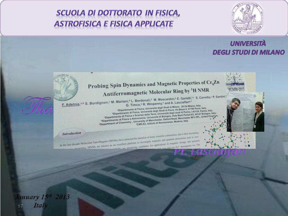 17 January 15 th 2013 Italy