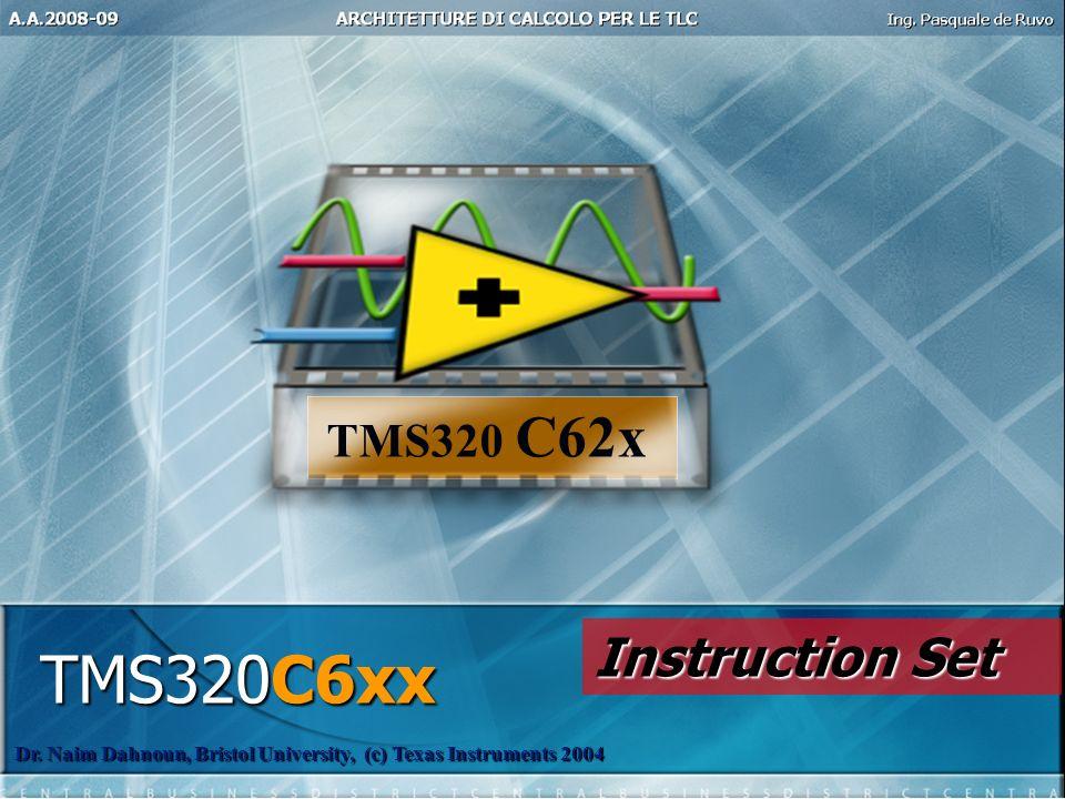 TMS320C6xx Dr. Naim Dahnoun, Bristol University, (c) Texas Instruments 2004 TMS320 C62x Instruction Set