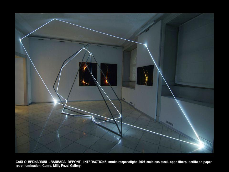 CARLO BERNARDINI - BARBARA DEPONTI, INTERACTIONS strukturespacelight 2007 stainless steel, optic fibers, acrilic on paper retroillumination.