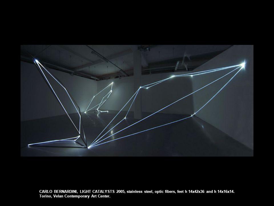 CARLO BERNARDINI, LIGHT CATALYSTS 2005, stainless steel, optic fibers, feet h 14x42x36 and h 14x16x14.