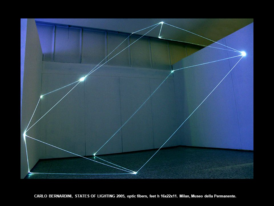 CARLO BERNARDINI, STATES OF LIGHTING 2005, optic fibers, feet h 16x22x11. Milan, Museo della Permanente.