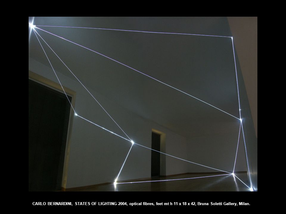 CARLO BERNARDINI, STATES OF LIGHTING 2004, optical fibres, feet mt h 11 x 18 x 42, Bruna Soletti Gallery, Milan.