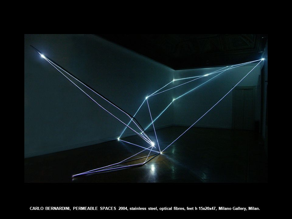 CARLO BERNARDINI, PERMEABLE SPACES 2004, stainless steel, optical fibres, feet h 15x20x47, Milano Gallery, Milan.