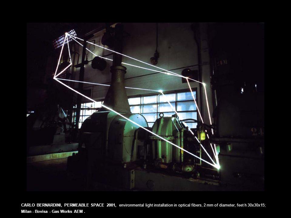 CARLO BERNARDINI, PERMEABLE SPACE 2001, environmental light installation in optical fibers, 2 mm of diameter, feet h 30x30x15; Milan - Bovisa - Gas Works AEM.