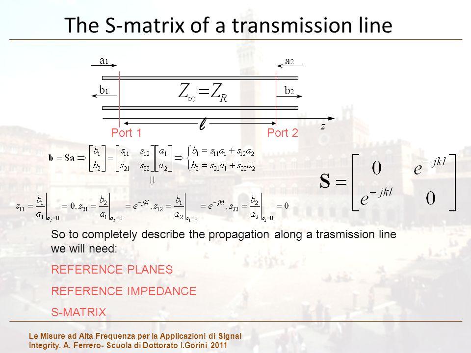 Le Misure ad Alta Frequenza per la Applicazioni di Signal Integrity. A. Ferrero- Scuola di Dottorato I.Gorini 2011 The S-matrix of a transmission line