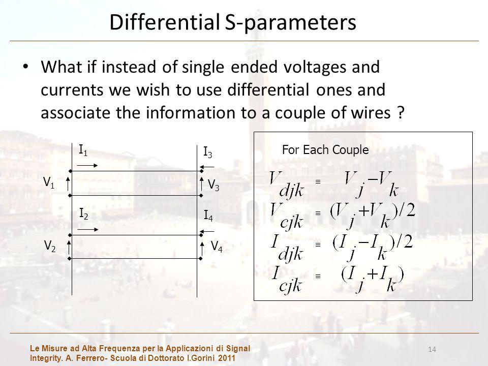 Le Misure ad Alta Frequenza per la Applicazioni di Signal Integrity. A. Ferrero- Scuola di Dottorato I.Gorini 2011 14 Differential S-parameters What i
