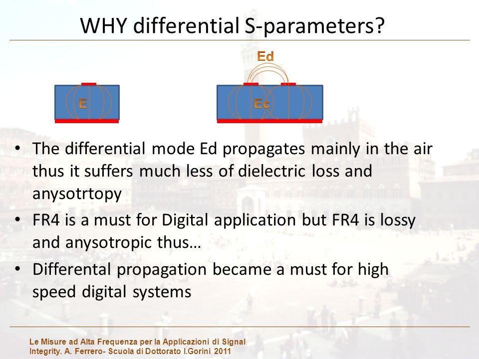 Le Misure ad Alta Frequenza per la Applicazioni di Signal Integrity. A. Ferrero- Scuola di Dottorato I.Gorini 2011 WHY differential S-parameters? The