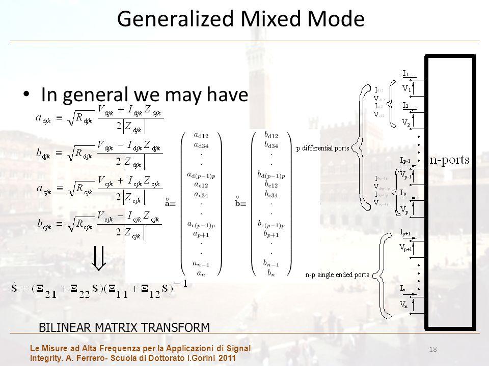 Le Misure ad Alta Frequenza per la Applicazioni di Signal Integrity. A. Ferrero- Scuola di Dottorato I.Gorini 2011 18 Generalized Mixed Mode In genera
