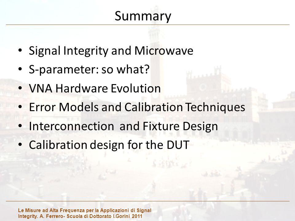 Le Misure ad Alta Frequenza per la Applicazioni di Signal Integrity. A. Ferrero- Scuola di Dottorato I.Gorini 2011 Summary Signal Integrity and Microw