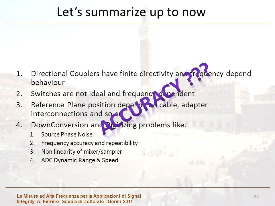 Le Misure ad Alta Frequenza per la Applicazioni di Signal Integrity. A. Ferrero- Scuola di Dottorato I.Gorini 2011 Lets summarize up to now 1.Directio