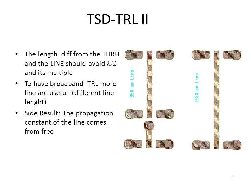 54 TSD-TRL II The length diff from the THRU and the LINE should avoid and its multiple To have broadband TRL more line are usefull (different line lenght) Side Result: The propagation constant of the line comes from free