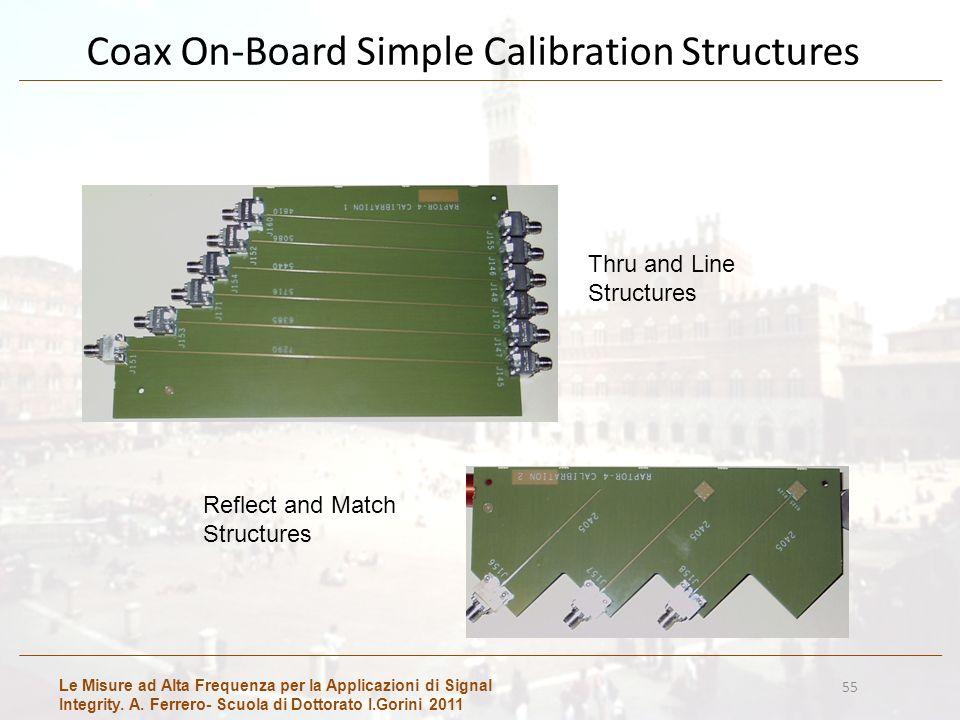 Le Misure ad Alta Frequenza per la Applicazioni di Signal Integrity. A. Ferrero- Scuola di Dottorato I.Gorini 2011 55 Coax On-Board Simple Calibration