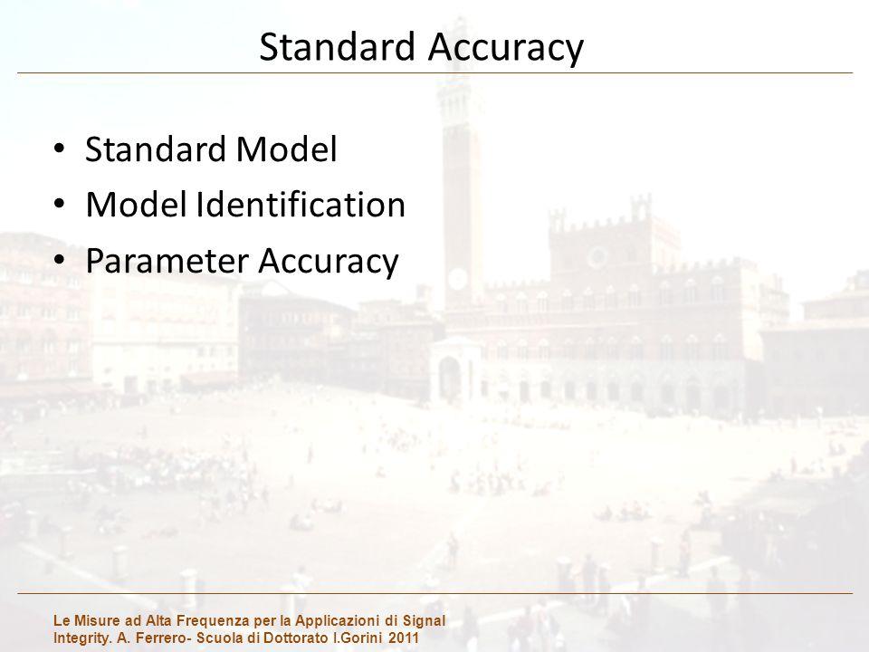 Le Misure ad Alta Frequenza per la Applicazioni di Signal Integrity. A. Ferrero- Scuola di Dottorato I.Gorini 2011 Standard Accuracy Standard Model Mo