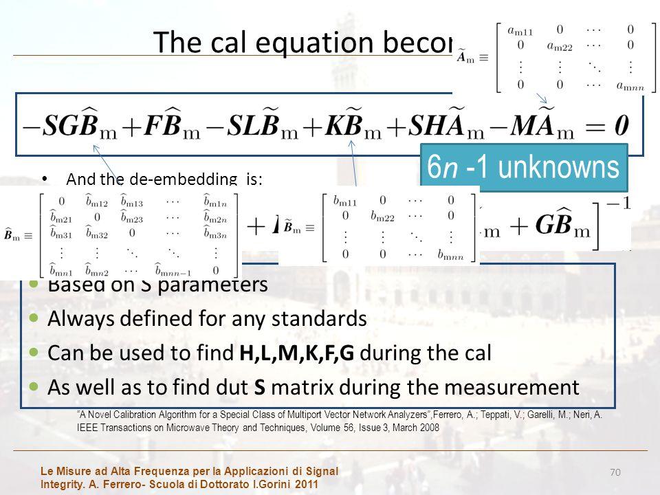 Le Misure ad Alta Frequenza per la Applicazioni di Signal Integrity. A. Ferrero- Scuola di Dottorato I.Gorini 2011 The cal equation becomes And the de