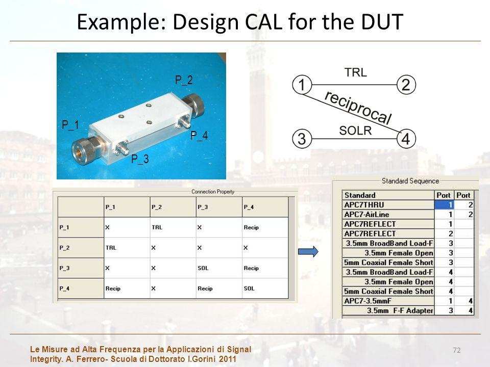 Le Misure ad Alta Frequenza per la Applicazioni di Signal Integrity. A. Ferrero- Scuola di Dottorato I.Gorini 2011 Example: Design CAL for the DUT 72