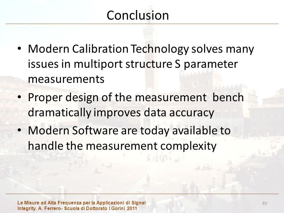 Le Misure ad Alta Frequenza per la Applicazioni di Signal Integrity. A. Ferrero- Scuola di Dottorato I.Gorini 2011 Conclusion Modern Calibration Techn