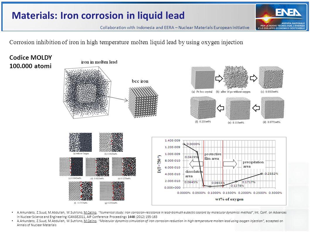Materials: Iron corrosion in liquid lead A.Arkundato, Z.Suud, M.Abdullah, W.Sutrisno, M.Celino, Numerical study: iron corrosion-resistance in lead-bis
