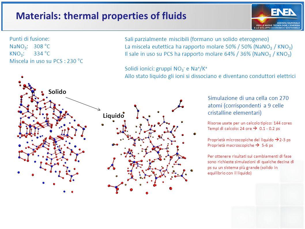 Sali parzialmente miscibili (formano un solido eterogeneo) La miscela eutettica ha rapporto molare 50% / 50% (NaNO 3 / KNO 3 ) Il sale in uso su PCS h