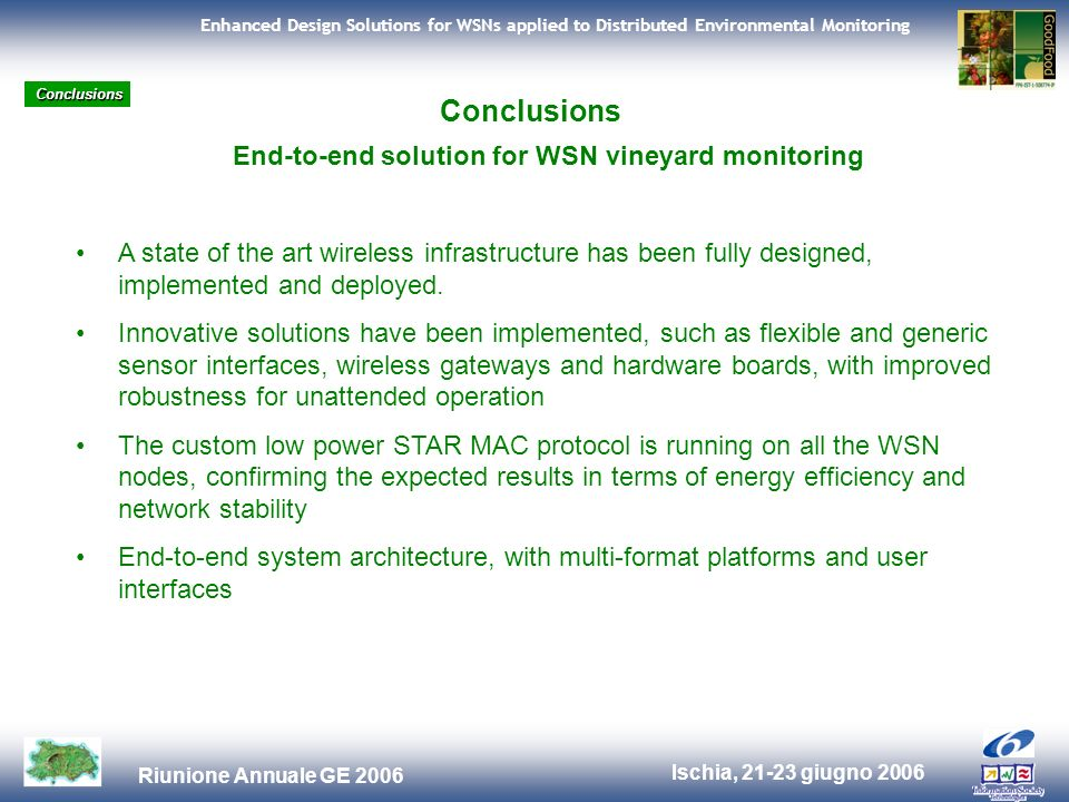 Ischia, 21-23 giugno 2006 Riunione Annuale GE 2006 Enhanced Design Solutions for WSNs applied to Distributed Environmental Monitoring Conclusions End-to-end solution for WSN vineyard monitoring A state of the art wireless infrastructure has been fully designed, implemented and deployed.