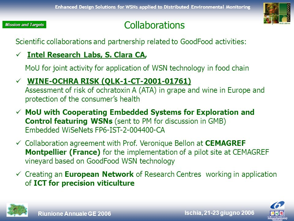 Ischia, 21-23 giugno 2006 Riunione Annuale GE 2006 Enhanced Design Solutions for WSNs applied to Distributed Environmental Monitoring Scientific collaborations and partnership related to GoodFood activities: Intel Research Labs, S.