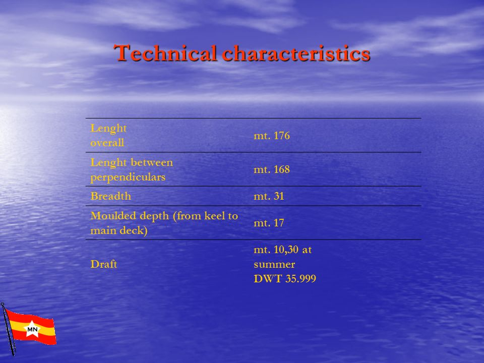 Technical characteristics Lenght overall mt. 176 Lenght between perpendiculars mt. 168 Breadth mt. 31 Moulded depth (from keel to main deck) mt. 17 Dr