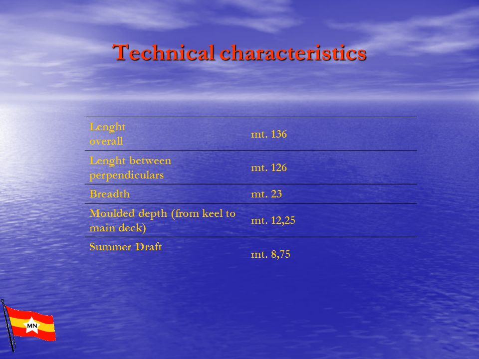 Technical characteristics Lenght overall mt. 136 Lenght between perpendiculars mt. 126 Breadth mt. 23 Moulded depth (from keel to main deck) mt. 12,25