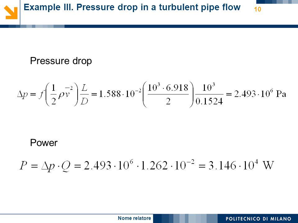 Nome relatore 10 Example III. Pressure drop in a turbulent pipe flow Pressure drop Power