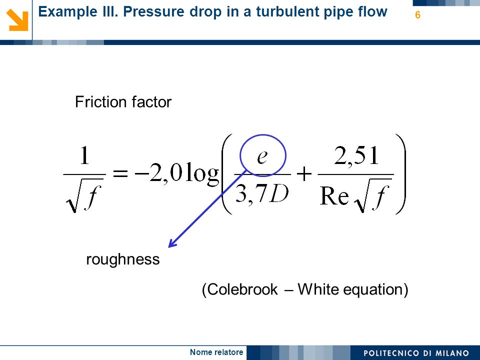 Nome relatore 7 Example III. Pressure drop in a turbulent pipe flow