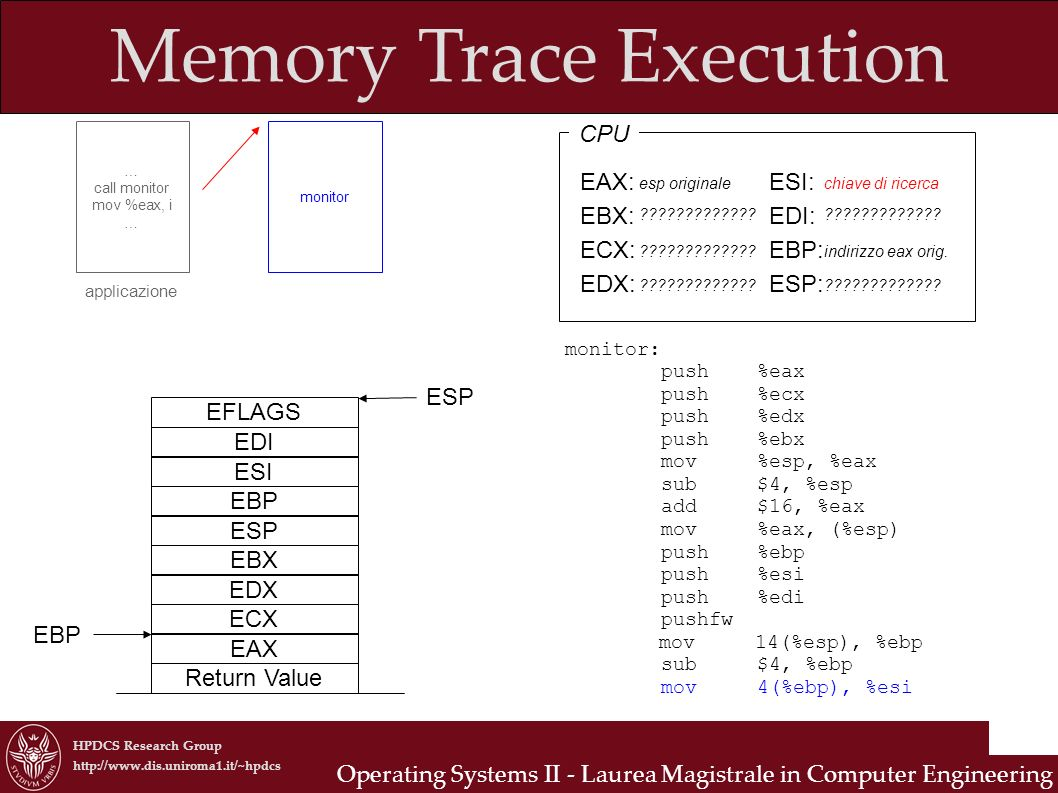 HPDCS Research Group http://www.dis.uniroma1.it/~hpdcs Operating Systems II - Laurea Magistrale in Computer Engineering Memory Trace Execution … call