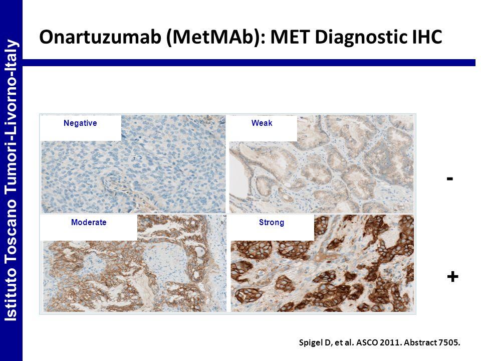 Onartuzumab (MetMAb): MET Diagnostic IHC Spigel D, et al. ASCO 2011. Abstract 7505. Negative Weak StrongModerate Istituto Toscano Tumori-Livorno-Italy