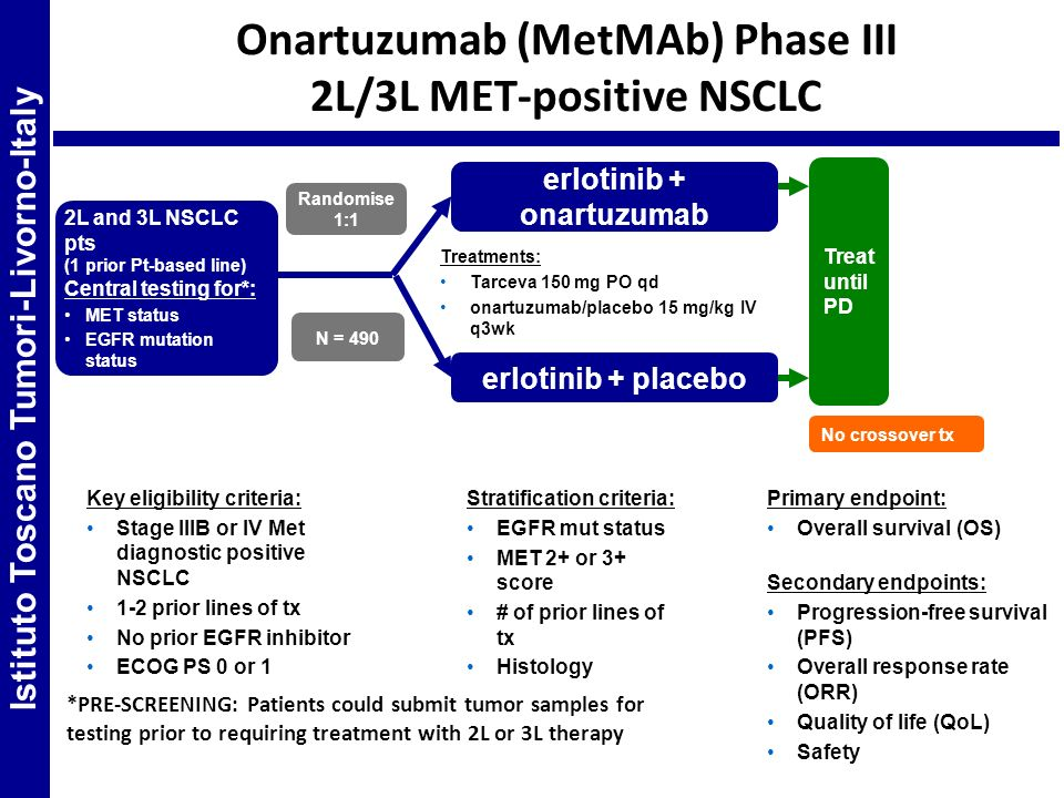 Onartuzumab (MetMAb) Phase III 2L/3L MET-positive NSCLC Treat until PD Randomise 1:1 No crossover tx N = 490 2L and 3L NSCLC pts (1 prior Pt-based lin