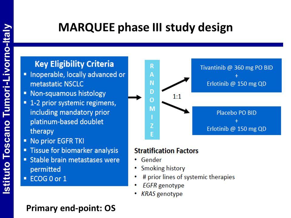 MARQUEE phase III study design Istituto Toscano Tumori-Livorno-Italy Primary end-point: OS