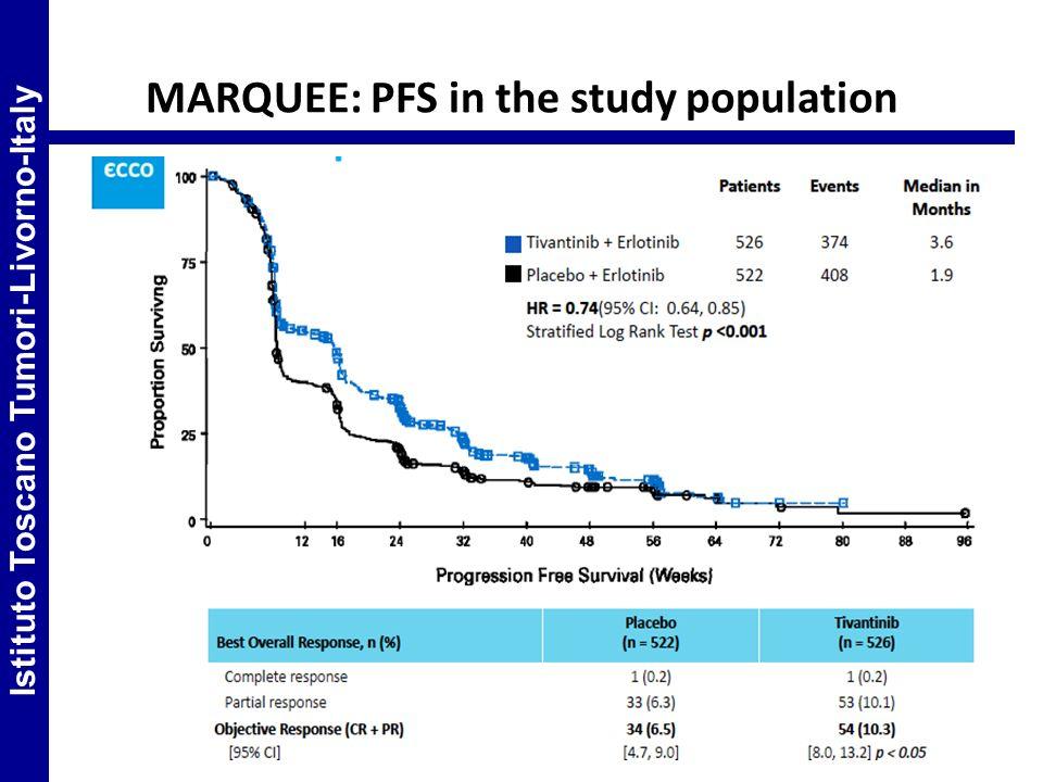 MARQUEE: PFS in the study population Istituto Toscano Tumori-Livorno-Italy