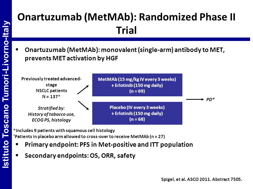 Onartuzumab (MetMAb): monovalent (single-arm) antibody to MET, prevents MET activation by HGF Primary endpoint: PFS in Met-positive and ITT population