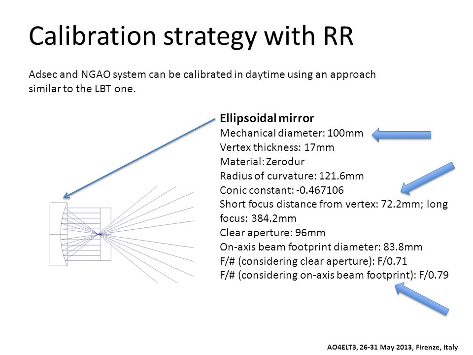 Calibration strategy with RR Adsec and NGAO system can be calibrated in daytime using an approach similar to the LBT one. Ellipsoidal mirror Mechanica