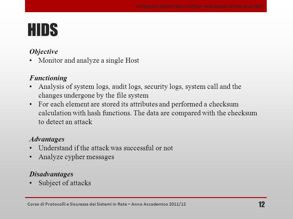 Corso di Protocolli e Sicurezza dei Sistemi in Rete – Anno Accademico 2011/12 INTRUSION DETECTION SYSTEM –IMPLEMENTATION AND TEST HIDS 12 Objective Mo