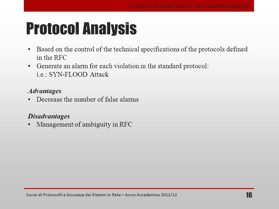 Corso di Protocolli e Sicurezza dei Sistemi in Rete – Anno Accademico 2011/12 INTRUSION DETECTION SYSTEM –IMPLEMENTATION AND TEST Protocol Analysis 16