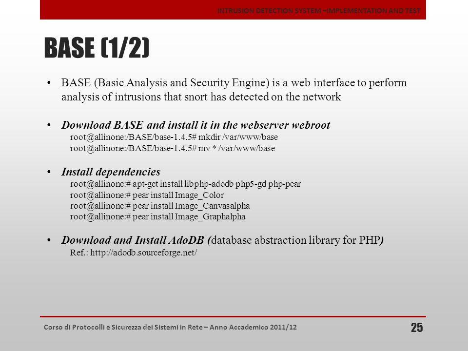 Corso di Protocolli e Sicurezza dei Sistemi in Rete – Anno Accademico 2011/12 INTRUSION DETECTION SYSTEM –IMPLEMENTATION AND TEST BASE (1/2) 25 BASE (