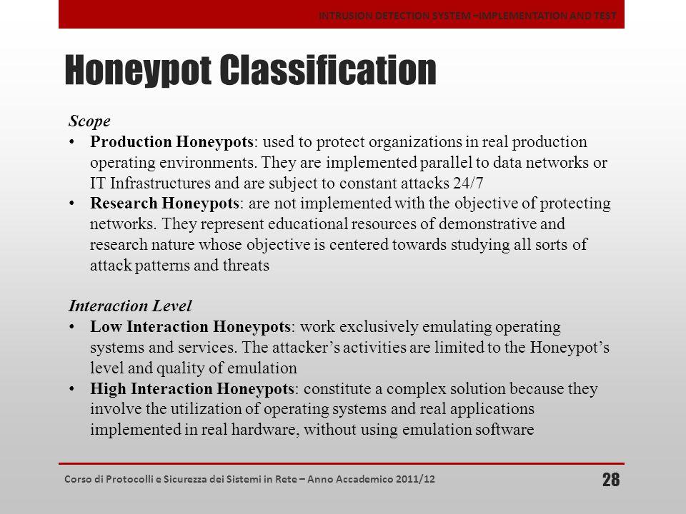 Corso di Protocolli e Sicurezza dei Sistemi in Rete – Anno Accademico 2011/12 INTRUSION DETECTION SYSTEM –IMPLEMENTATION AND TEST Honeypot Classificat