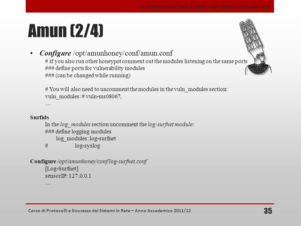 Corso di Protocolli e Sicurezza dei Sistemi in Rete – Anno Accademico 2011/12 INTRUSION DETECTION SYSTEM –IMPLEMENTATION AND TEST Amun (2/4) 35 Config