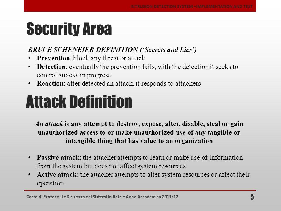 Corso di Protocolli e Sicurezza dei Sistemi in Rete – Anno Accademico 2011/12 INTRUSION DETECTION SYSTEM –IMPLEMENTATION AND TEST Security Area 5 BRUC