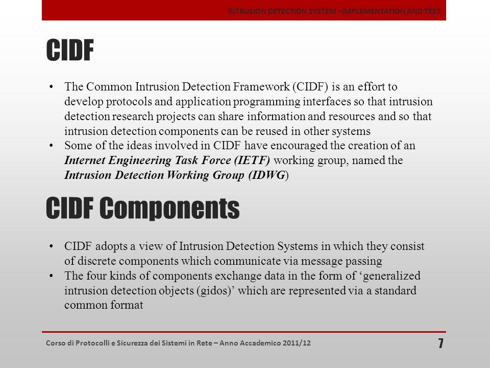 Corso di Protocolli e Sicurezza dei Sistemi in Rete – Anno Accademico 2011/12 INTRUSION DETECTION SYSTEM –IMPLEMENTATION AND TEST CIDF 7 The Common In