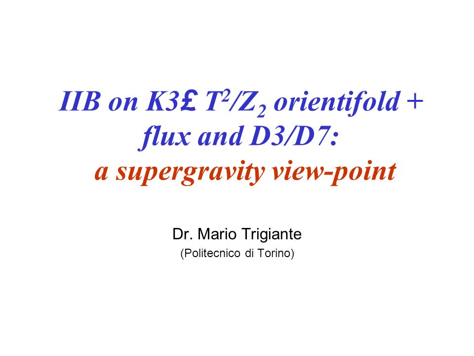Plan of the Talk General overview: Compactification with Fluxes and Gauged Supergravities.