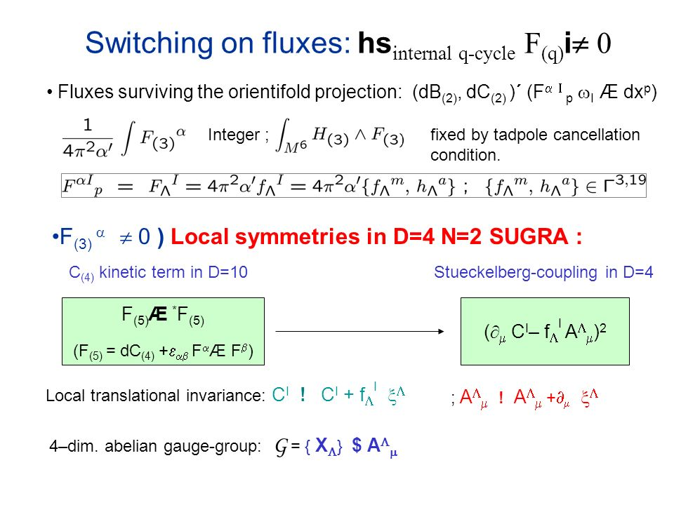 Switching on fluxes: hs internal q-cycle F (q) i 0 Fluxes surviving the orientifold projection: (dB (2), dC (2) )´ (F p I Æ dx p ) F (3) 0 ) Local symmetries in D=4 N=2 SUGRA : C (4) kinetic term in D=10 F (5) Æ * F (5) (F (5) = dC (4) + F Æ F ) ( C I – f I A ) 2 Stueckelberg-coupling in D=4 Local translational invariance: C I .