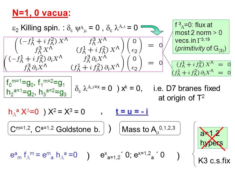 N=1, 0 vacua: f 0 m=1 =g 0, f 1 m=2 =g 1 h 2 a=1 =g 2, h 3 a=2 =g 3 e a m f m = e m a h a =0 ) e x a=1,2 ´ 0; e x=1,2 a ´ 0 C m=1,2, C a=1,2 Goldstone