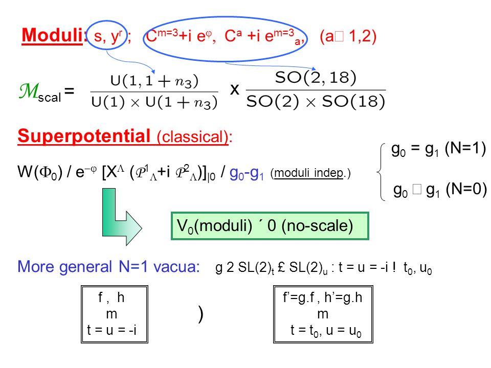 Moduli: s, y r ; C m=3 +i e C a +i e m=3 a, (a 1,2) M scal = x Superpotential (classical): W( 0 ) / e [X ( P 1 +i P 2 )] |0 / g 0 -g 1 (moduli indep.)