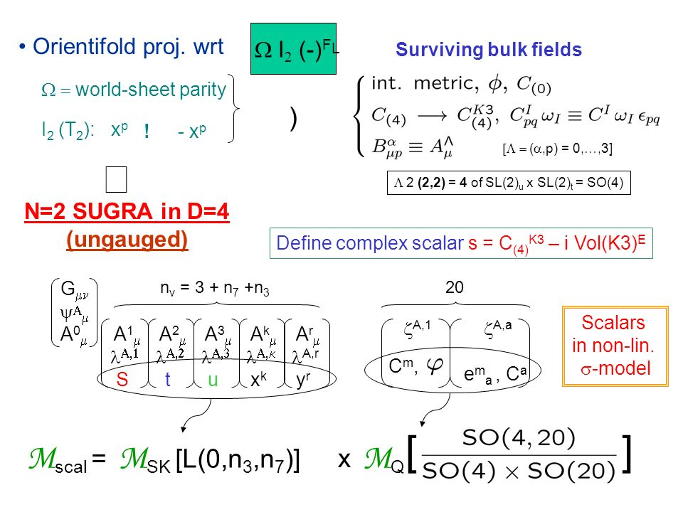 Geometry of M SK : Hodge-Kaehler manifold, locally described by choice of coordinates {z i } (i=1,…,n v ) and by a 2 (n v +1) -dim.