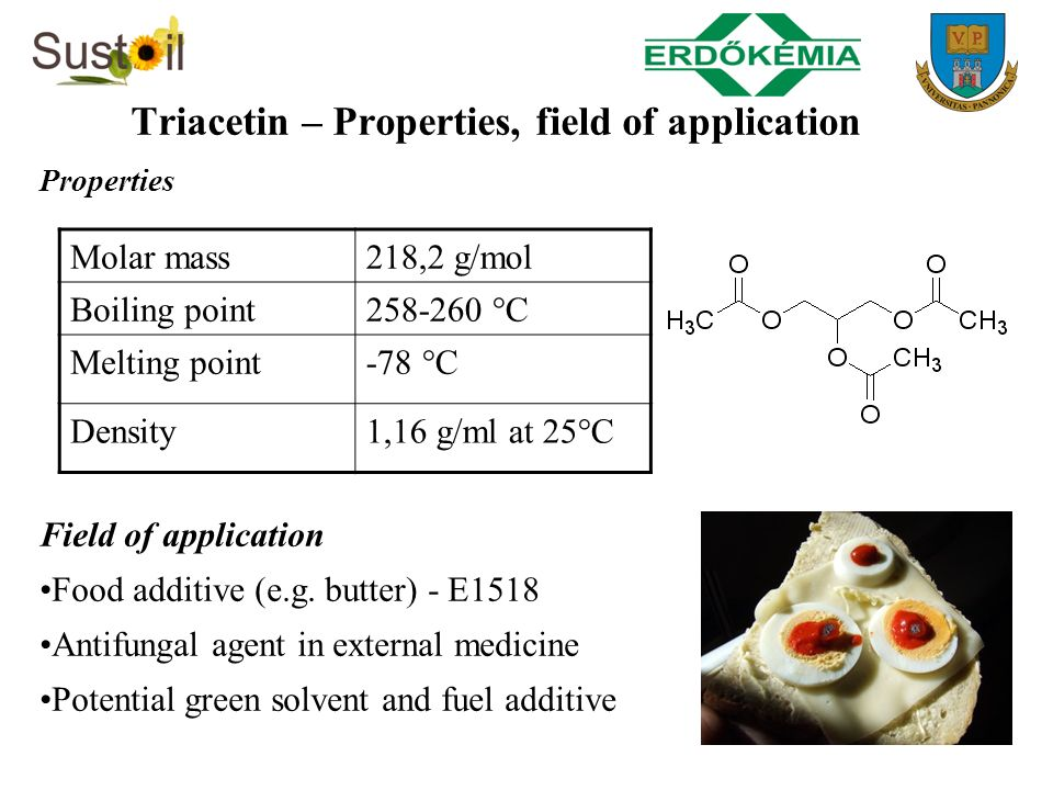 Triacetin – Properties, field of application Properties Field of application Food additive (e.g. butter) - E1518 Antifungal agent in external medicine