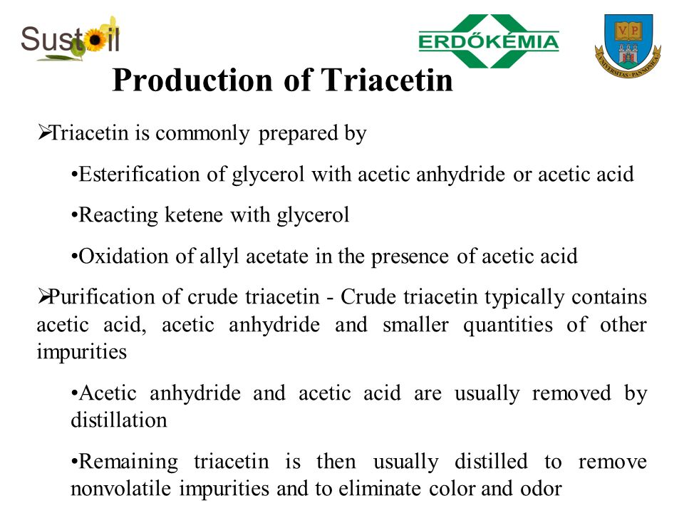 Production of Triacetin Triacetin is commonly prepared by Esterification of glycerol with acetic anhydride or acetic acid Reacting ketene with glycero
