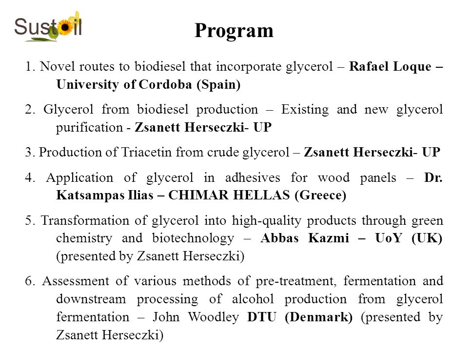 Program 1. Novel routes to biodiesel that incorporate glycerol – Rafael Loque – University of Cordoba (Spain) 2. Glycerol from biodiesel production –